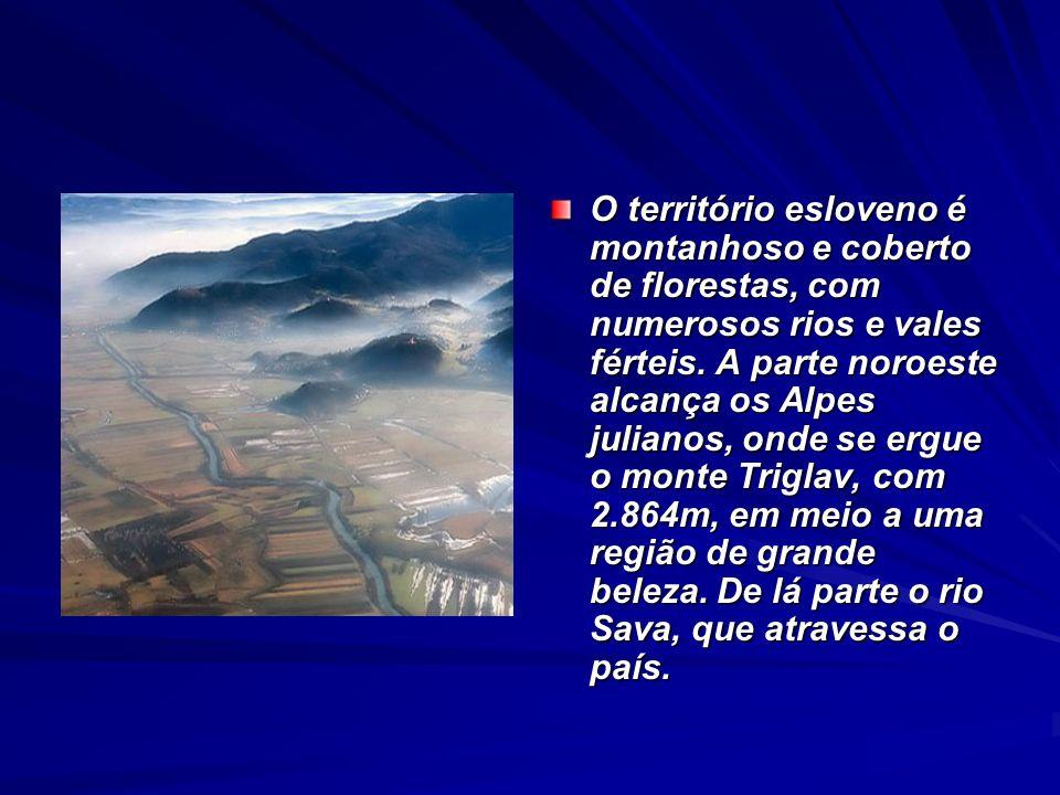 O território esloveno é montanhoso e coberto de florestas, com numerosos rios e vales férteis.