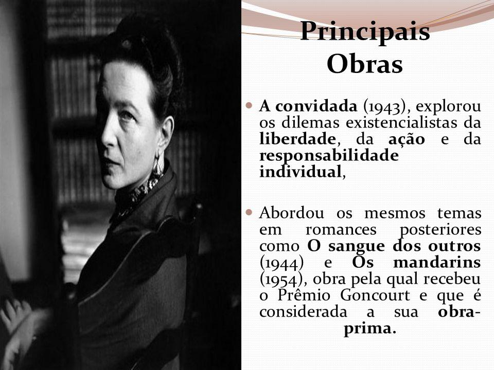 Principais Obras A convidada (1943), explorou os dilemas existencialistas da liberdade, da ação e da responsabilidade individual,