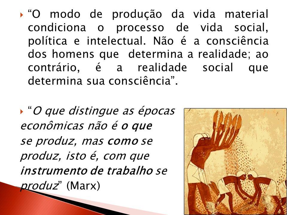 O modo de produção da vida material condiciona o processo de vida social, política e intelectual. Não é a consciência dos homens que determina a realidade; ao contrário, é a realidade social que determina sua consciência .