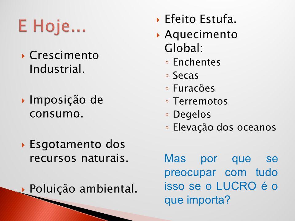 E Hoje... Efeito Estufa. Aquecimento Global: Crescimento Industrial.