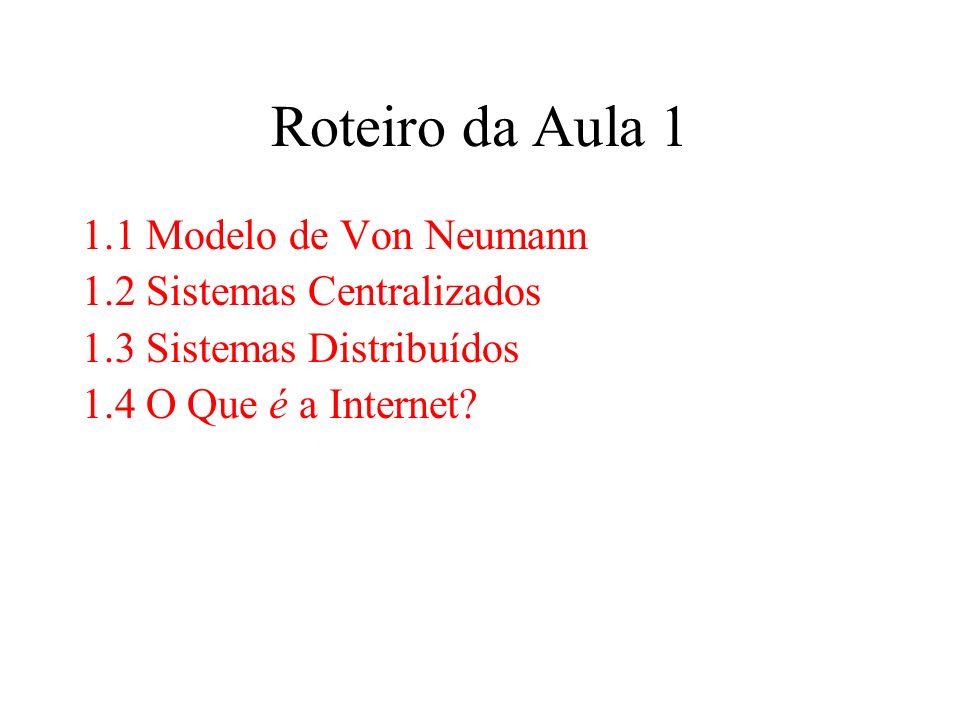 Roteiro da Aula 1 1.1 Modelo de Von Neumann 1.2 Sistemas Centralizados