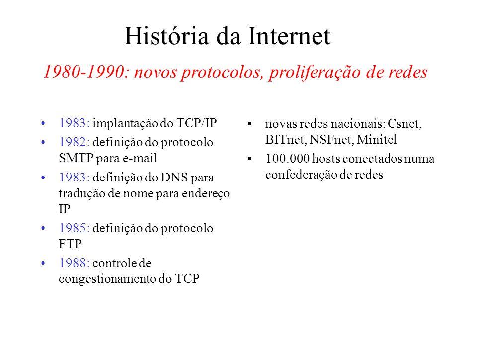 1980-1990: novos protocolos, proliferação de redes