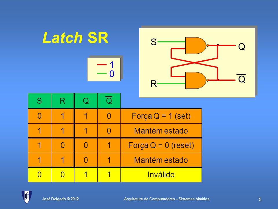 Latch SR S • Q 1 R Força Q = 1 (set) Q 1 R S Mantém estado 1