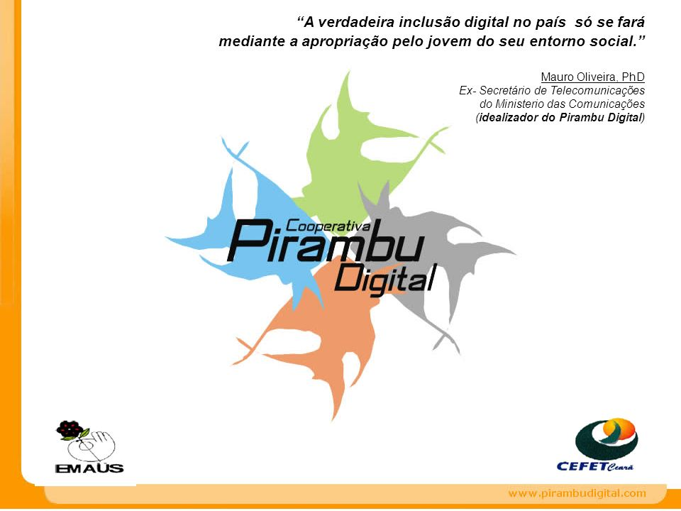 A verdadeira inclusão digital no país só se fará mediante a apropriação pelo jovem do seu entorno social. Mauro Oliveira, PhD