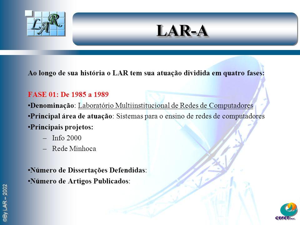 LAR-A Ao longo de sua história o LAR tem sua atuação dividida em quatro fases: FASE 01: De 1985 a 1989.