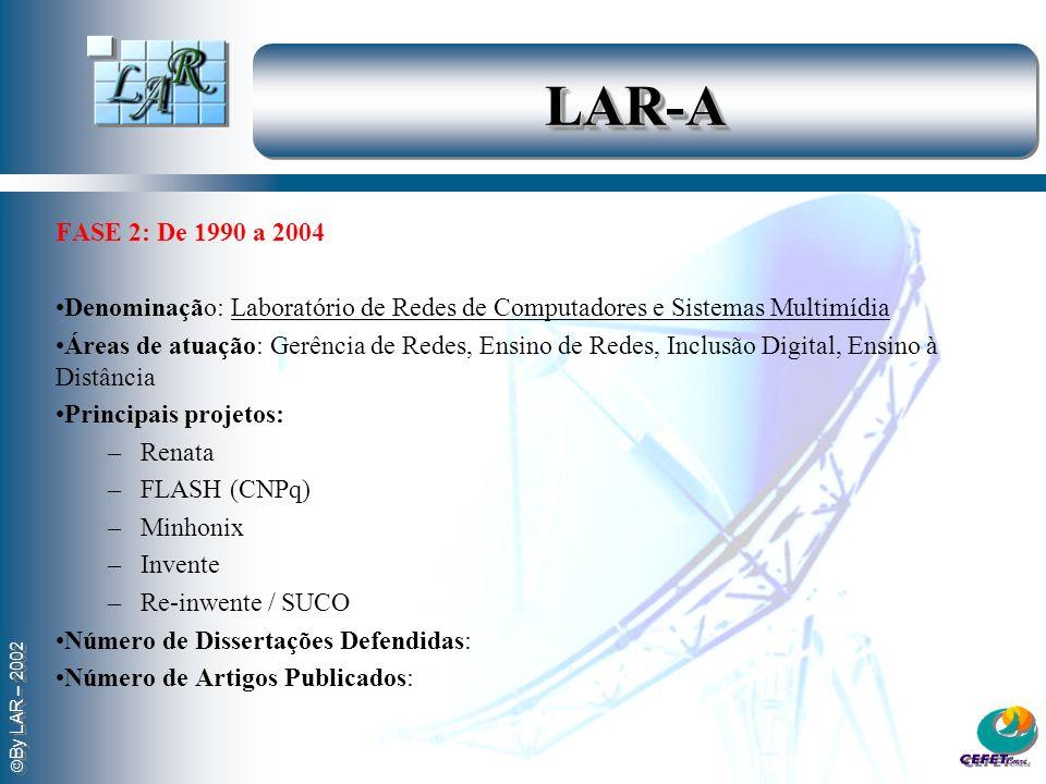 LAR-A FASE 2: De 1990 a 2004. Denominação: Laboratório de Redes de Computadores e Sistemas Multimídia.