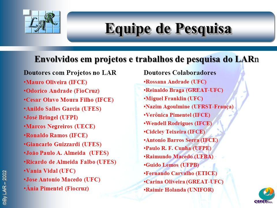 Equipe de Pesquisa Envolvidos em projetos e trabalhos de pesquisa do LARn. Doutores com Projetos no LAR.