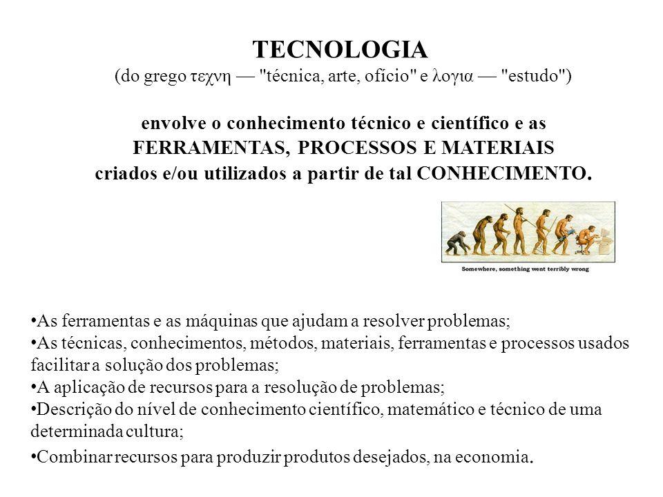TECNOLOGIA envolve o conhecimento técnico e científico e as