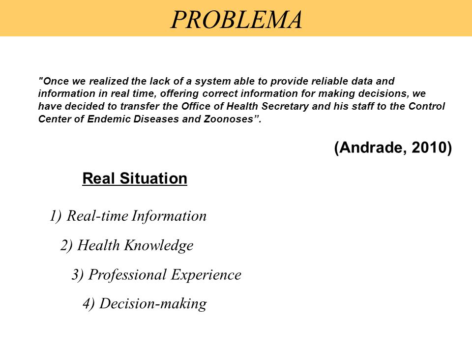 PROBLEMA (Andrade, 2010) Real Situation Real-time Information