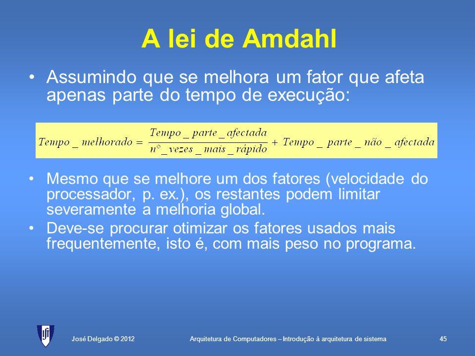 A lei de Amdahl Assumindo que se melhora um fator que afeta apenas parte do tempo de execução: