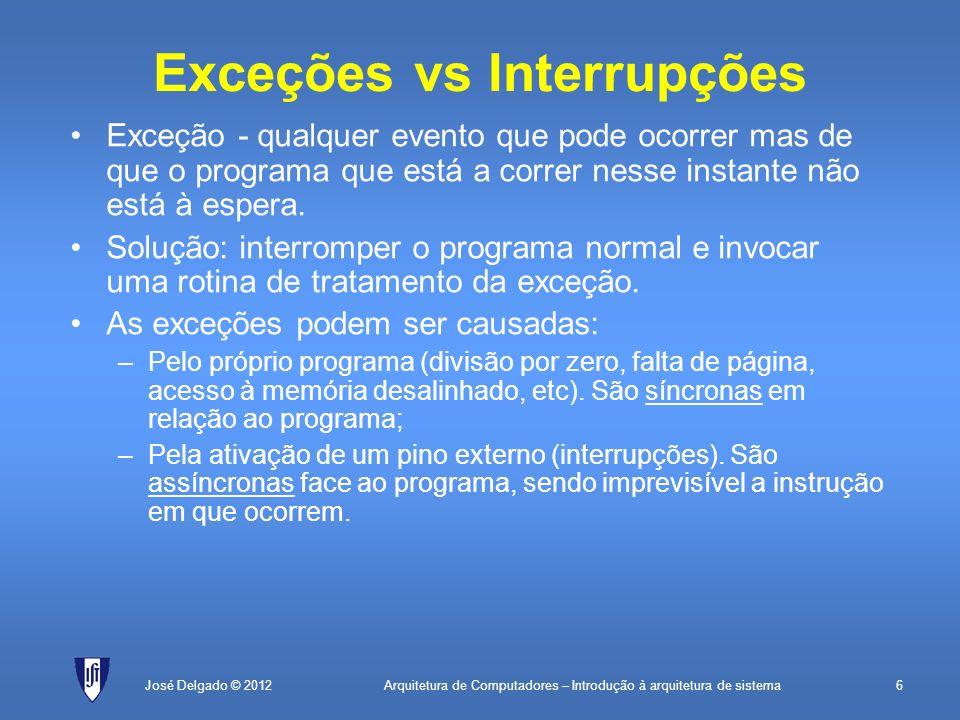 Exceções vs Interrupções