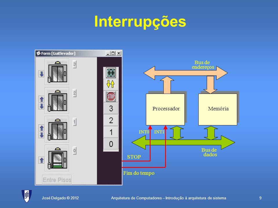 Interrupções Bus de endereços Processador Memória Bus de dados STOP