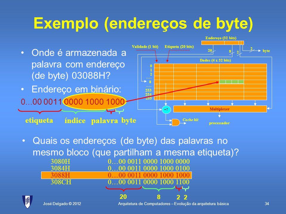 Exemplo (endereços de byte)