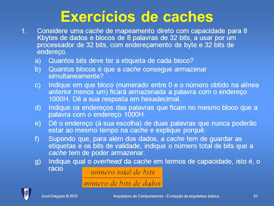 Exercícios de caches