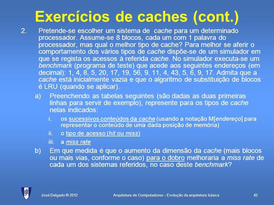 Exercícios de caches (cont.)