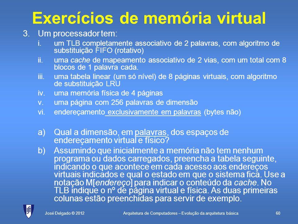 Exercícios de memória virtual