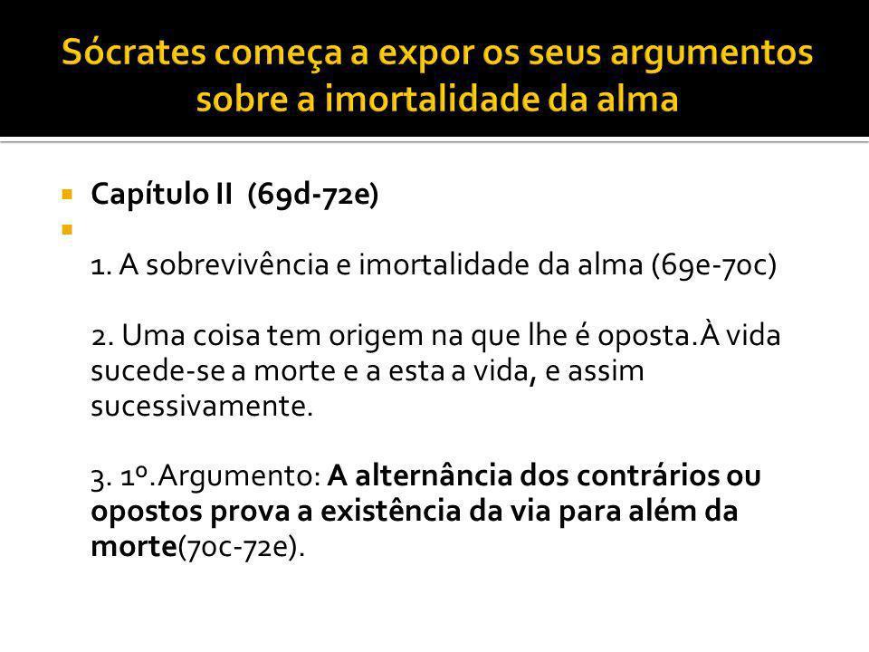 Sócrates começa a expor os seus argumentos sobre a imortalidade da alma