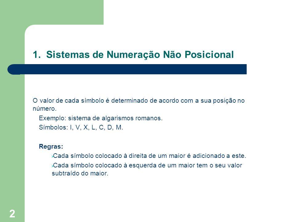 1. Sistemas de Numeração Não Posicional