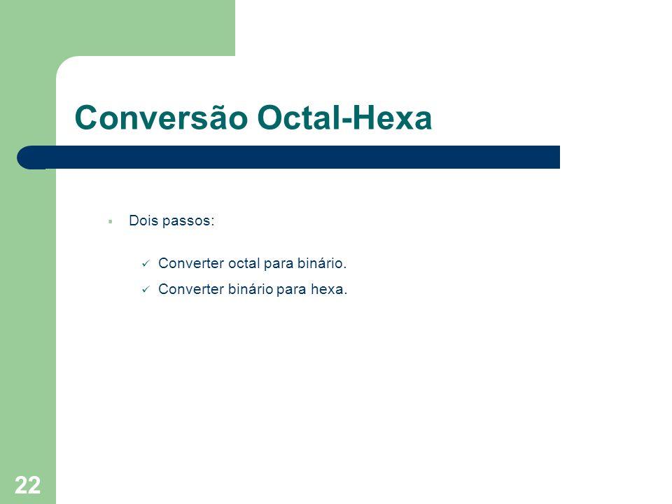 Conversão Octal-Hexa Dois passos: Converter octal para binário.