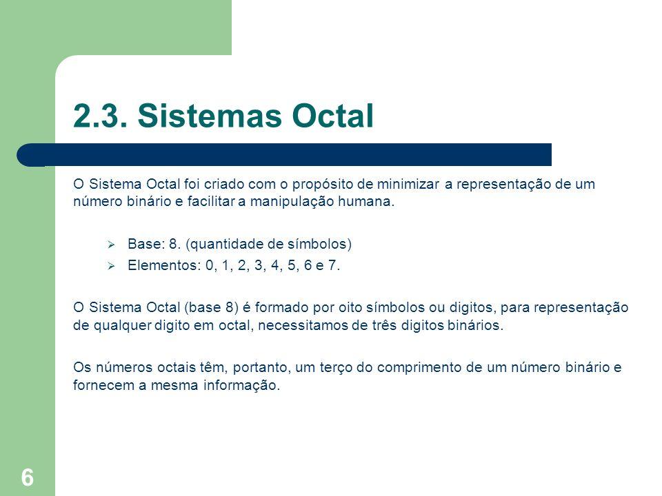 2.3. Sistemas Octal O Sistema Octal foi criado com o propósito de minimizar a representação de um número binário e facilitar a manipulação humana.