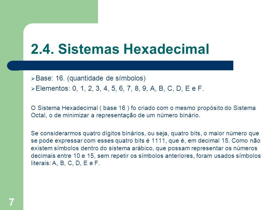 2.4. Sistemas Hexadecimal Base: 16. (quantidade de símbolos)