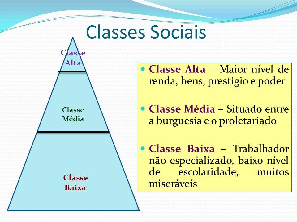 Classes Sociais Classe Alta. Classe Alta – Maior nível de renda, bens, prestígio e poder. Classe Média – Situado entre a burguesia e o proletariado.