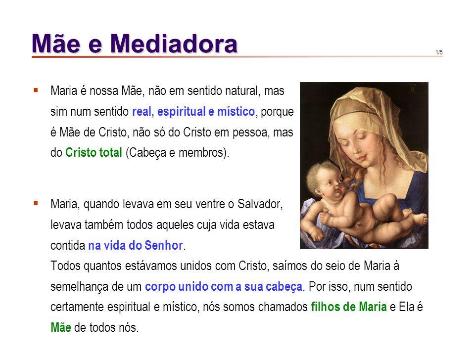 Mãe e Mediadora Maria é nossa Mãe, não em sentido natural, mas