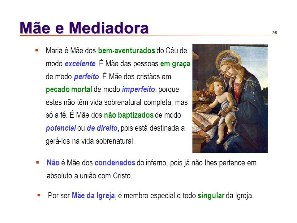 Mãe e Mediadora Maria é Mãe dos bem-aventurados do Céu de