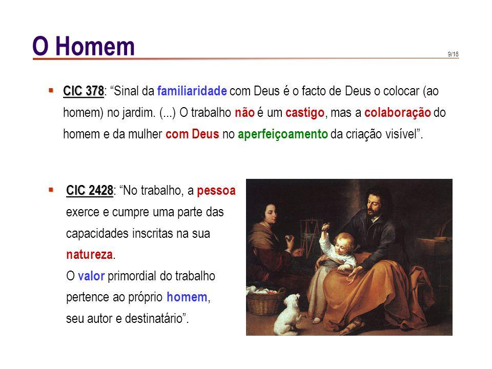 O Homem CIC 378: Sinal da familiaridade com Deus é o facto de Deus o colocar (ao.