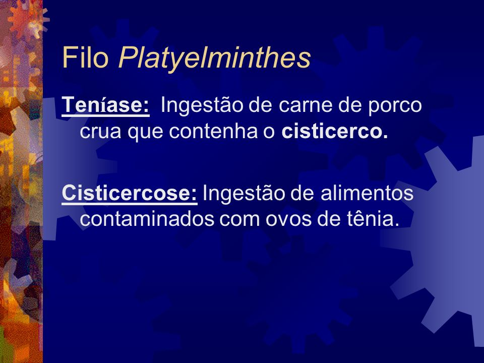 Filo PlatyelminthesTeníase: Ingestão de carne de porco crua que contenha o cisticerco.