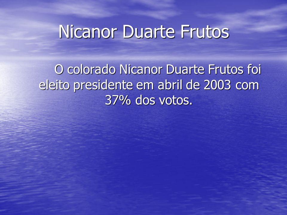Nicanor Duarte Frutos O colorado Nicanor Duarte Frutos foi eleito presidente em abril de 2003 com 37% dos votos.