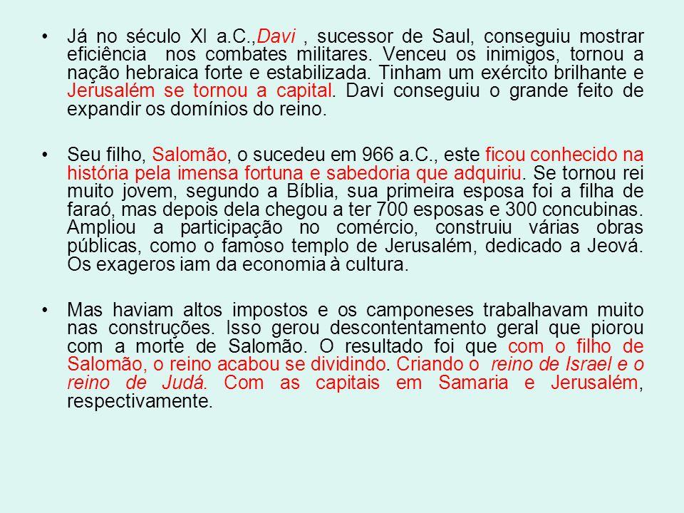 Já no século XI a.C.,Davi , sucessor de Saul, conseguiu mostrar eficiência nos combates militares. Venceu os inimigos, tornou a nação hebraica forte e estabilizada. Tinham um exército brilhante e Jerusalém se tornou a capital. Davi conseguiu o grande feito de expandir os domínios do reino.
