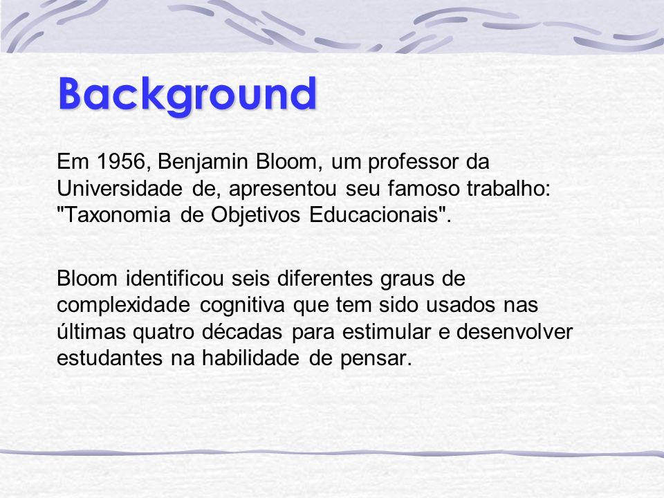 BackgroundEm 1956, Benjamin Bloom, um professor da Universidade de, apresentou seu famoso trabalho: Taxonomia de Objetivos Educacionais .