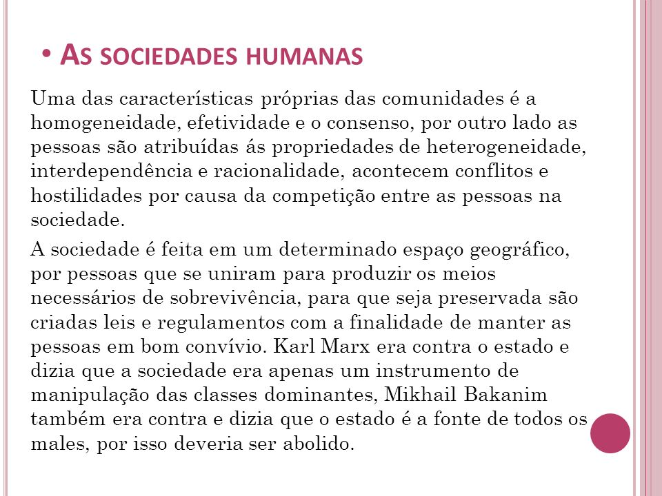 As sociedades humanas