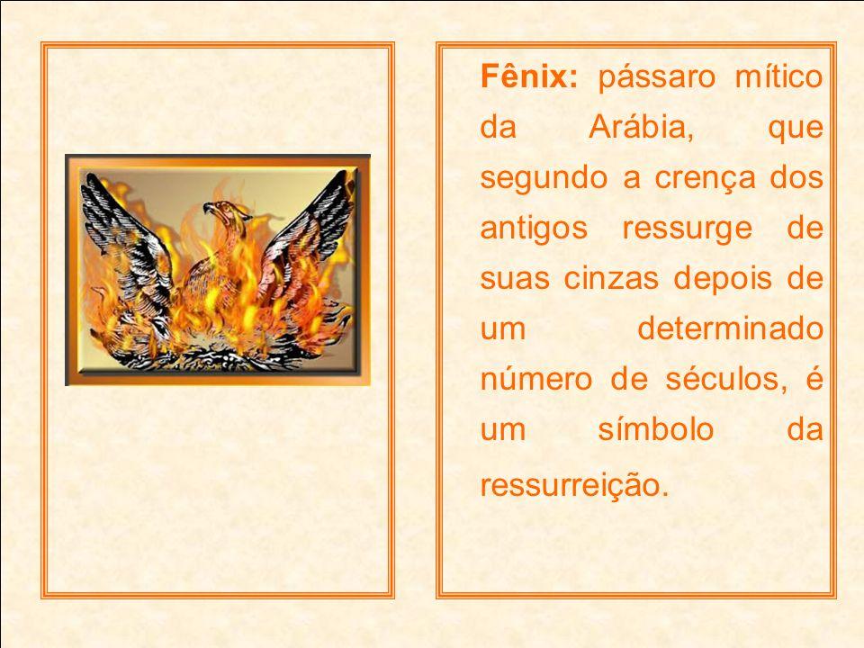Fênix: pássaro mítico da Arábia, que segundo a crença dos antigos ressurge de suas cinzas depois de um determinado número de séculos, é um símbolo da ressurreição.