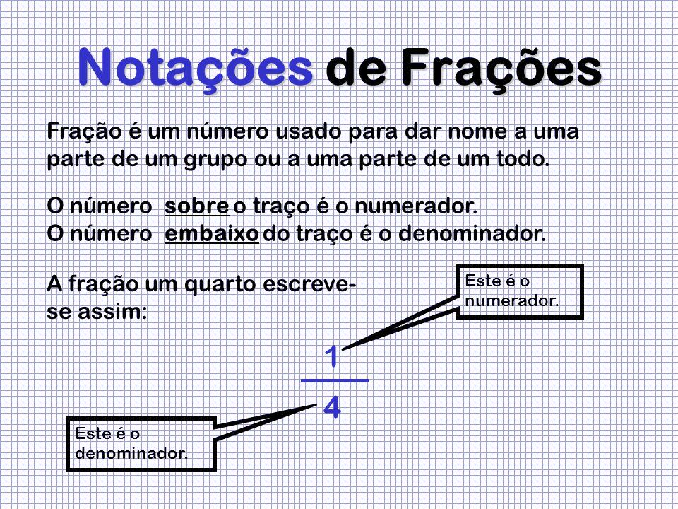 Notações de Frações Fração é um número usado para dar nome a uma parte de um grupo ou a uma parte de um todo.