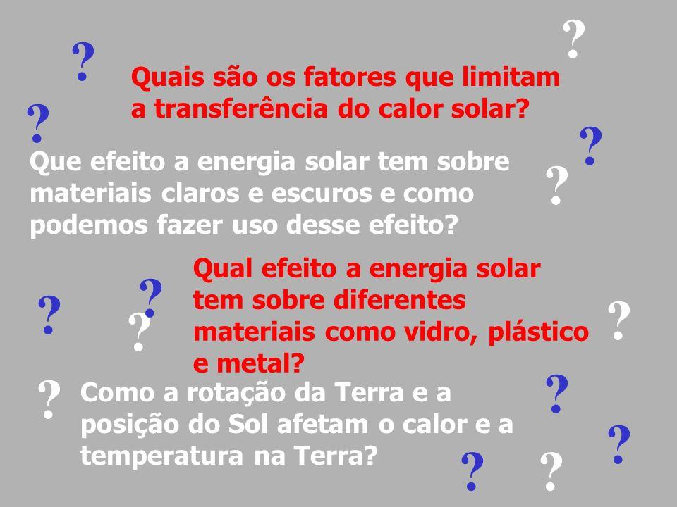 Quais são os fatores que limitam a transferência do calor solar