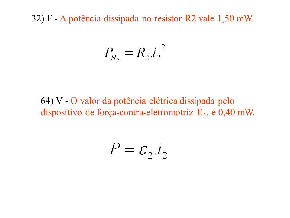 32) F - A potência dissipada no resistor R2 vale 1,50 mW.