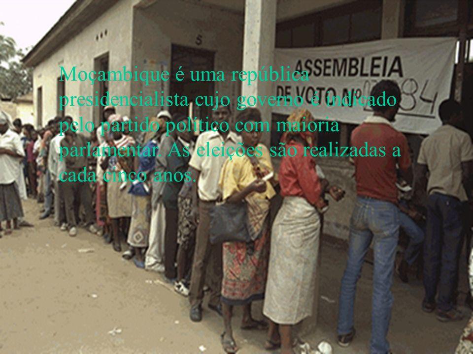 Moçambique é uma república presidencialista cujo governo é indicado pelo partido político com maioria parlamentar. As eleições são realizadas a cada cinco anos.