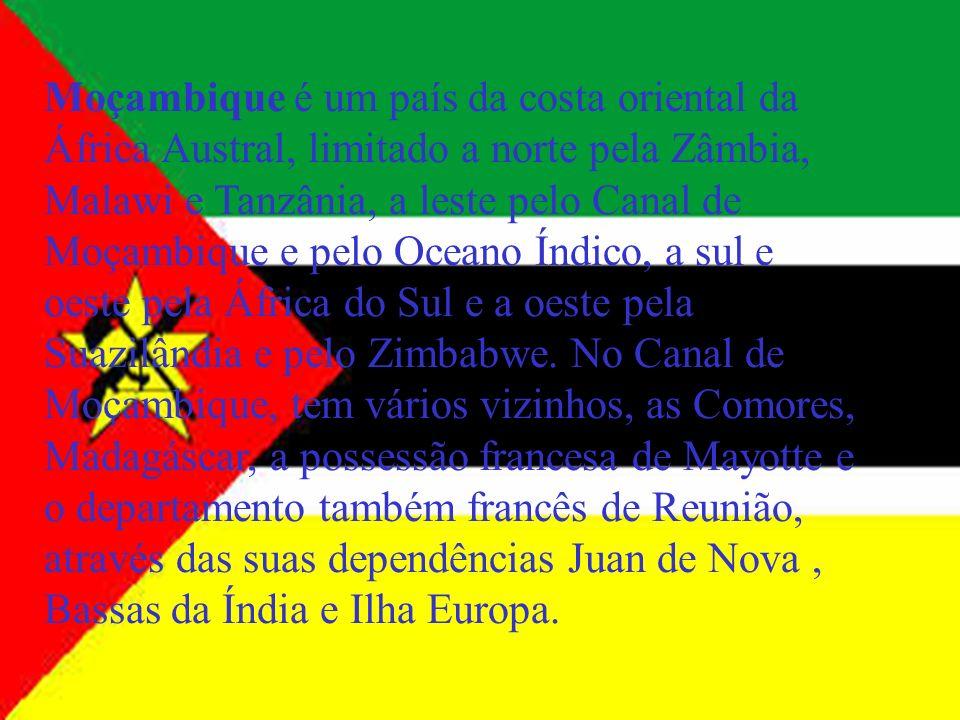 Moçambique é um país da costa oriental da África Austral, limitado a norte pela Zâmbia, Malawi e Tanzânia, a leste pelo Canal de Moçambique e pelo Oceano Índico, a sul e oeste pela África do Sul e a oeste pela Suazilândia e pelo Zimbabwe.
