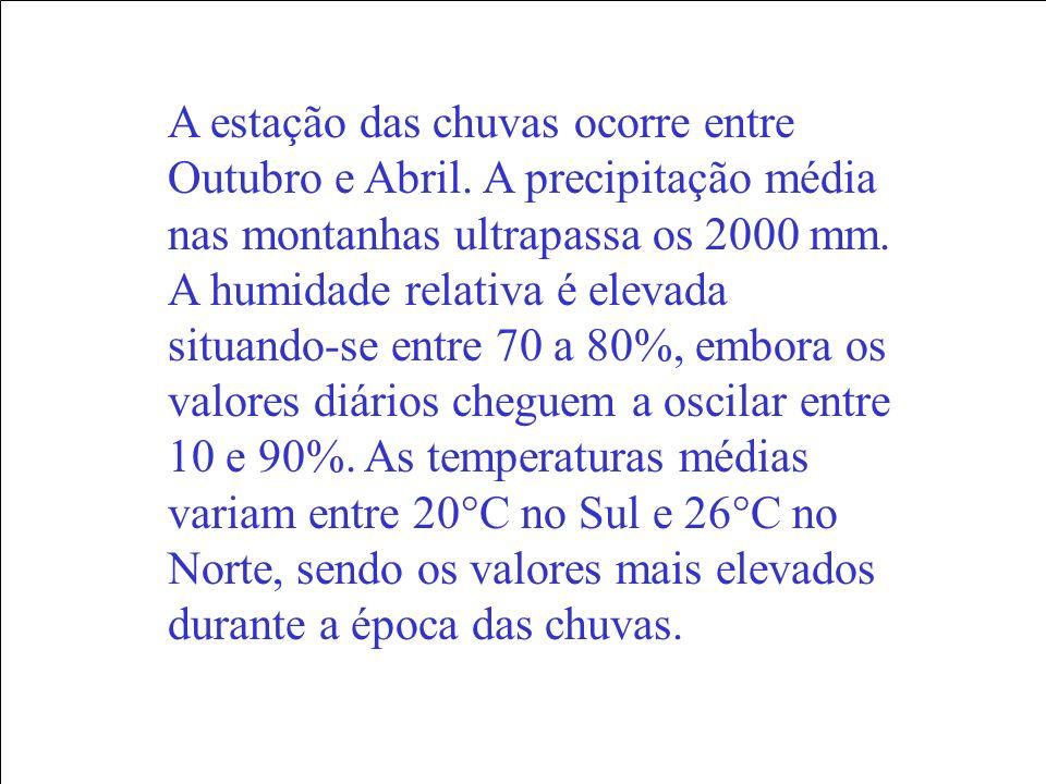 A estação das chuvas ocorre entre Outubro e Abril