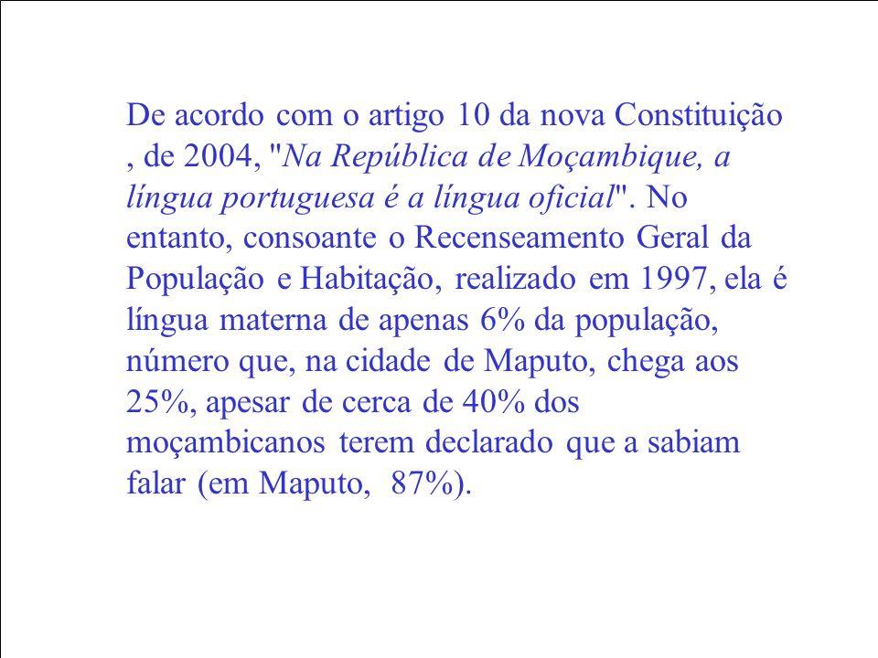 De acordo com o artigo 10 da nova Constituição , de 2004, Na República de Moçambique, a língua portuguesa é a língua oficial .