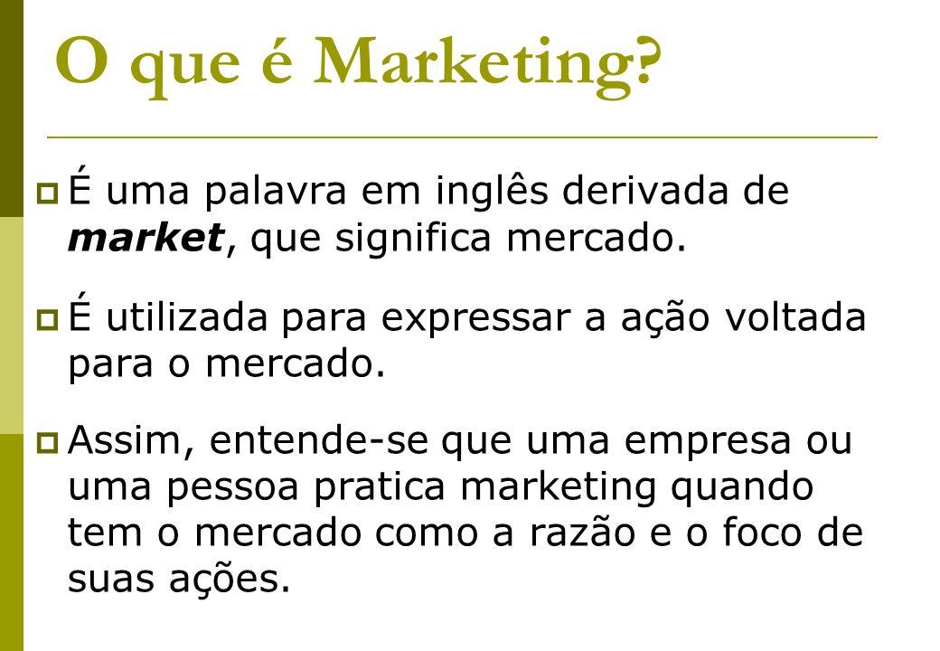 O que é Marketing É uma palavra em inglês derivada de market, que significa mercado. É utilizada para expressar a ação voltada para o mercado.