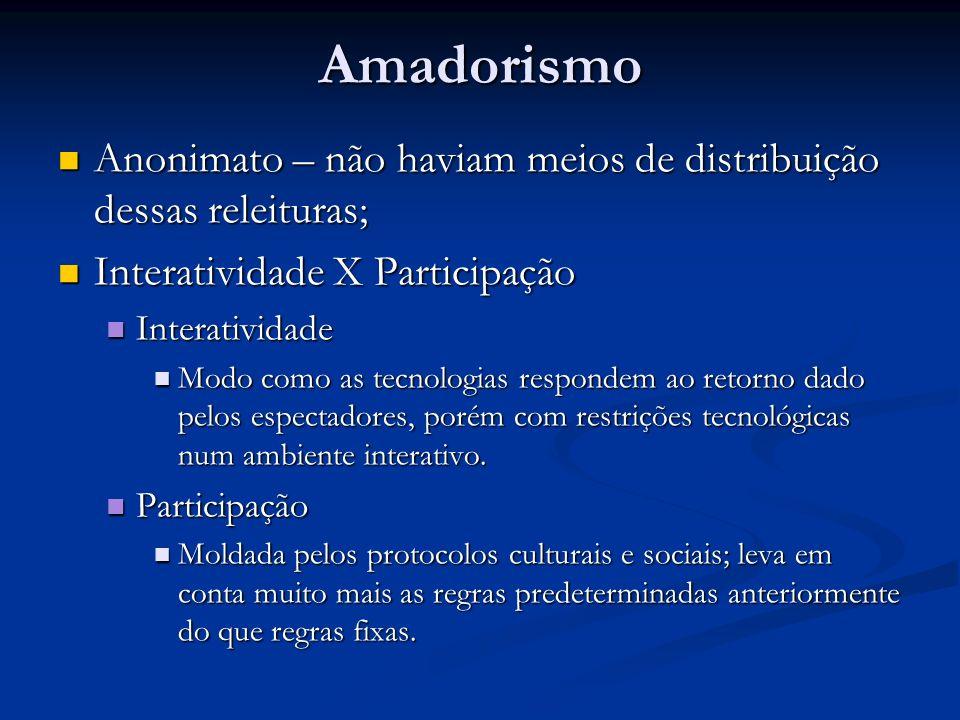 Amadorismo Anonimato – não haviam meios de distribuição dessas releituras; Interatividade X Participação.