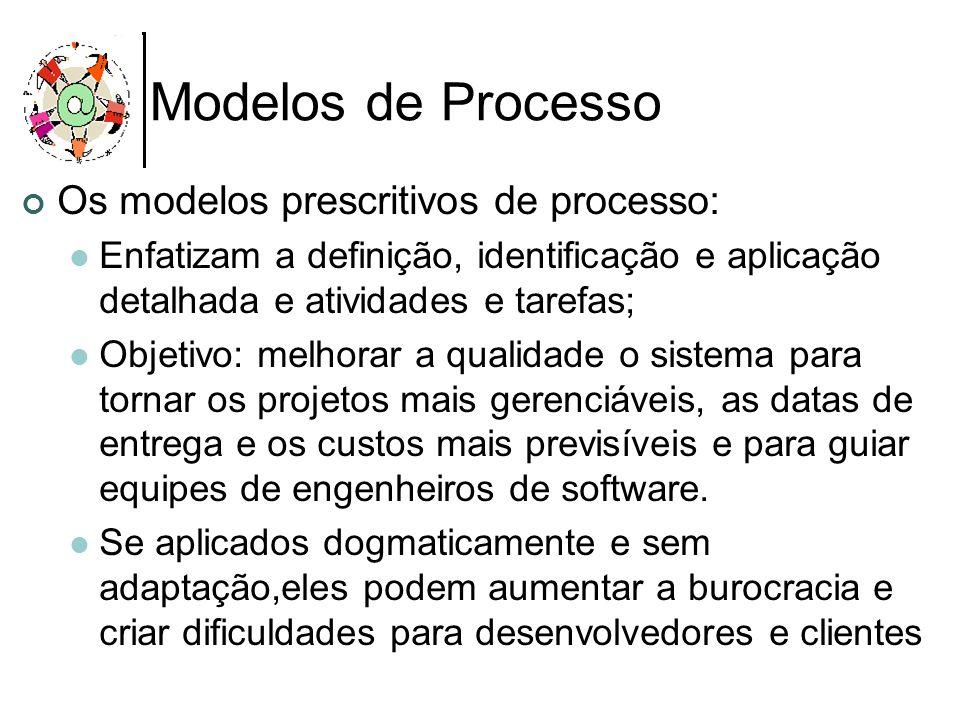 Modelos de Processo Os modelos prescritivos de processo: