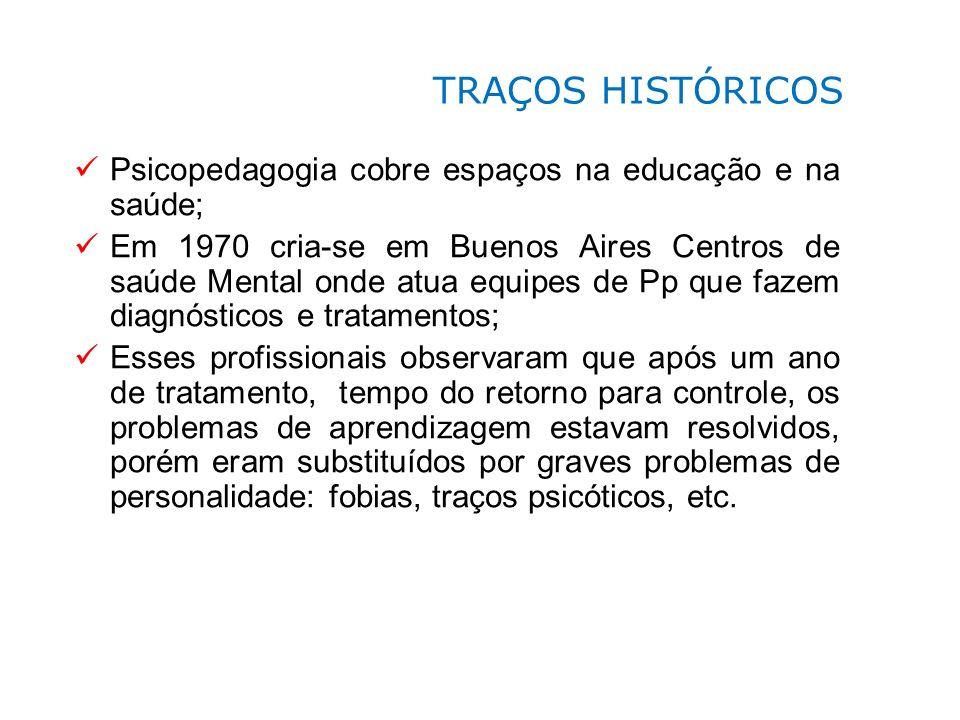 TRAÇOS HISTÓRICOS Psicopedagogia cobre espaços na educação e na saúde;
