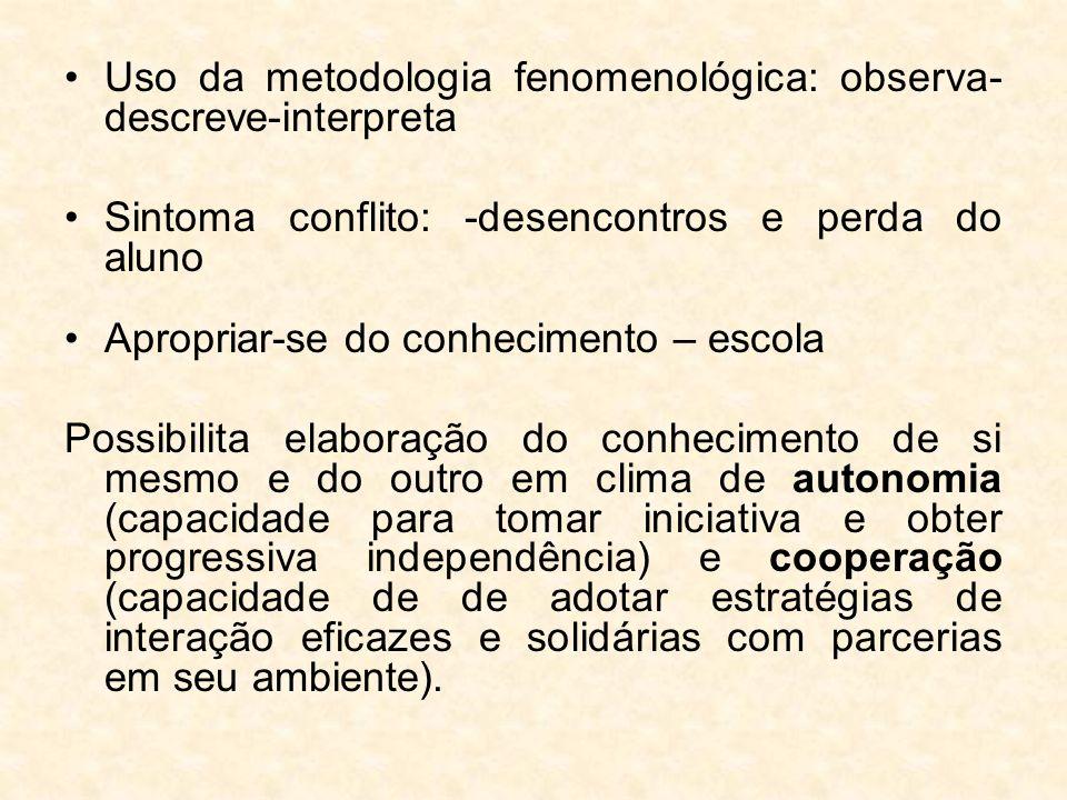 Uso da metodologia fenomenológica: observa-descreve-interpreta