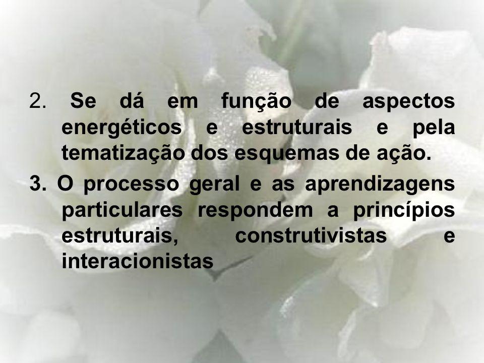 2. Se dá em função de aspectos energéticos e estruturais e pela tematização dos esquemas de ação.