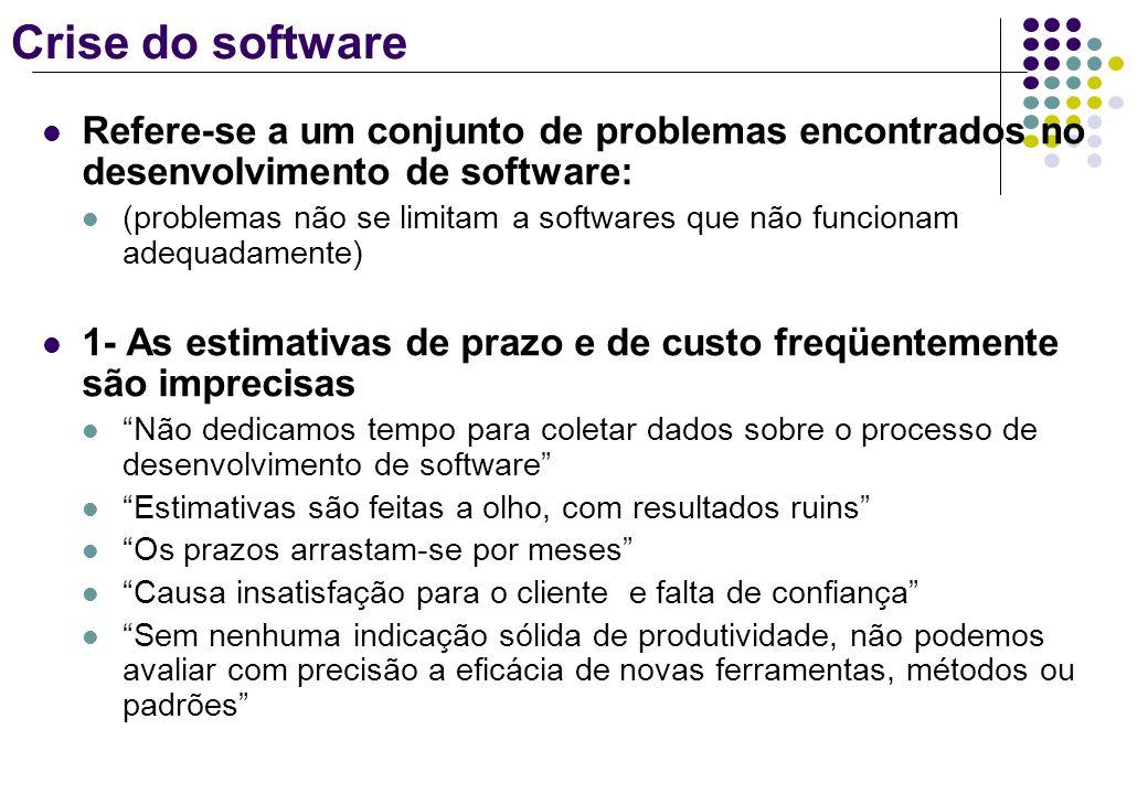 Crise do softwareRefere-se a um conjunto de problemas encontrados no desenvolvimento de software: