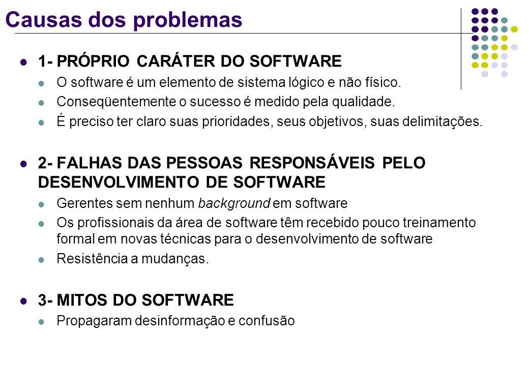 Causas dos problemas 1- PRÓPRIO CARÁTER DO SOFTWARE